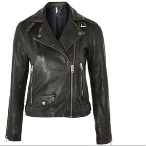 Topshop | Lucky Leather Biker Jacket Size 2 NEW